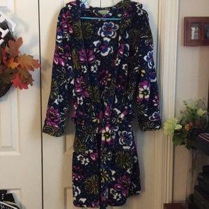 Vera Bradley Wrap Hooded Fleece Robe w/2 Pockets